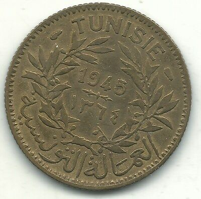 A Better Grade- 1945 Tunisia 1 Franc Coin-Jun357
