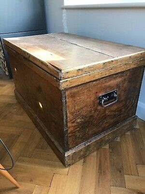 Antique Waxed Pine Trunk Chest Storage Victorian Huge Large Vintage Coffee Tale