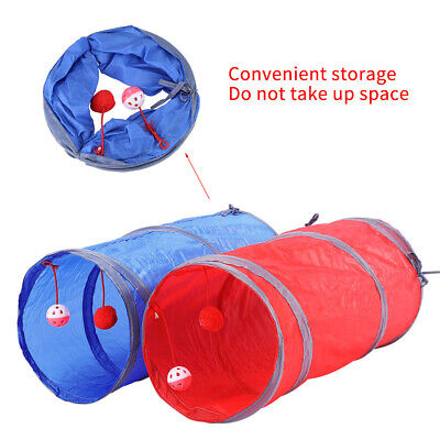 Pet Cat Kitten Dog Puppy Rabbit Folding Tunnel Game Play Toys W/ Bell Ball New C