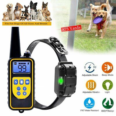 Rechargeable Dog Shock Training Collar Remote Wireless Waterproof IP67 875 Yards