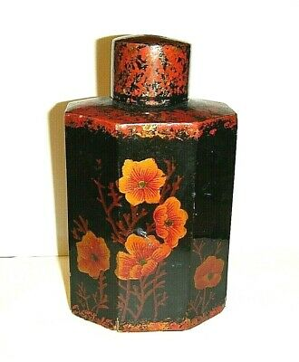 VTG 1950s JAPAN BLACK LACQUER & PAINTED FLORALS OCTAGON TEA CADDY CONTAINER JAR