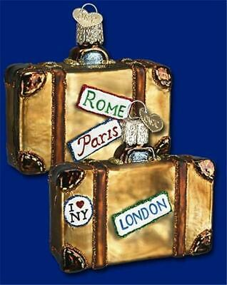 Suitcase Old World Christmas Glass Bon Voyage Travel Vacation Ornament 32105
