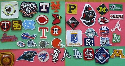 Lot of 40 Sports Logo Patches NBA NHL NCAA MLB NFL & 3 Rubber Stickers All New