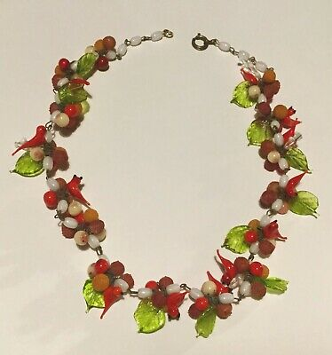 Beautiful Vintage Art Deco Murano Glass Fruit & Bird Necklace. 1930s.