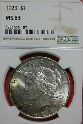 1923 MS 63 Peace Silver Dollar NGC Certified Graded Authentic Slab OCE 458