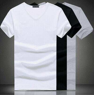 Men's Round Neck Slim T-shirt Solid Color Sleeve V Fit Short cotton Casual