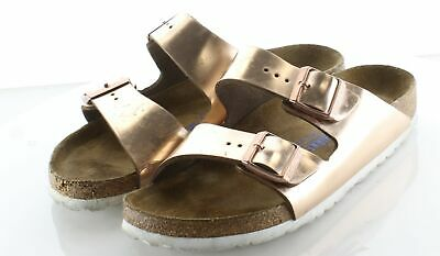 NEW BIRKENSTOCK ARIZONA Rose Gold Leather Metallic Soft