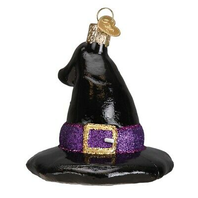 Old World Christmas Black Witchs Hat Glass Halloween Ornament 26078 FREE BOX New