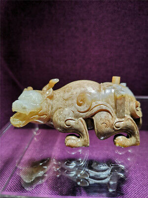 Antique Han Dynasty Chinese Old Hetian Jade Lucky Beast Carving X1353