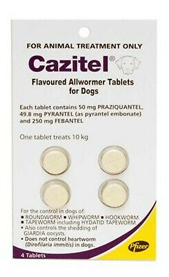 CAZITEL Flavoured Allwormer Tablets for dogs - 10kg body weight - 4 Tablets