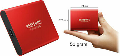 "Samsung T5 500GB 2.5"" USB 3.1 Type C Portable External SSD HDD RED MU-PA500R"