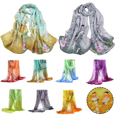 Women Chiffon Long Scarves Shawl Wrap Printed Scarf Girl Flower Chinese Style