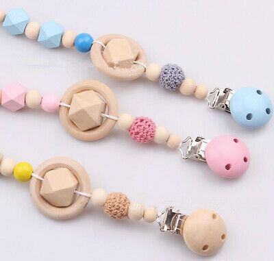 Wooden Baby Pacifier Chain dummy Holder Clip Baby Feeding Teether Pacifiers Clip