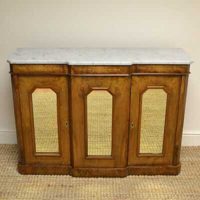 Victorian Inlaid Figured Walnut Antique Break-Fronted Credenza