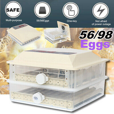 56/98Eggs 220v Automatic Turning Incubator Hatcher Chicken Temperature Control
