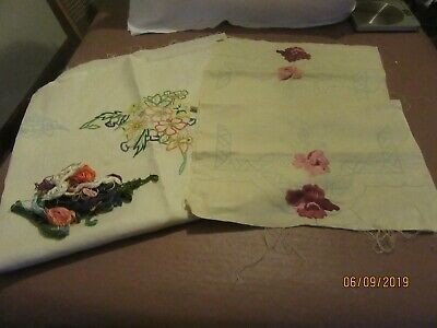 Vintge Transfer Printed Tablecloth & Chair Backs Linen For Embroidery Part Done