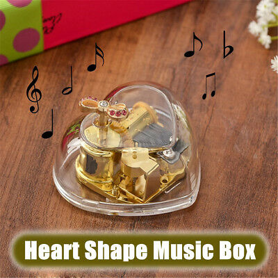 Gorgeous Heart Shape Wind Up Music Box Birthday Valentine's Day Kids Girls