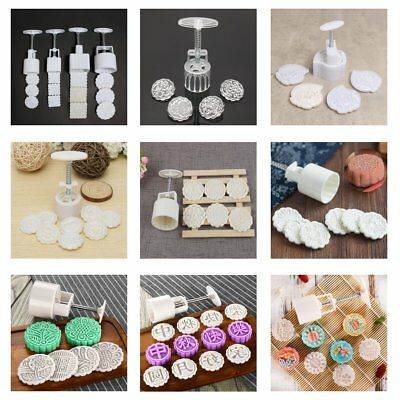 13 Pattern 50-125g Round Moon Cake Mold Flower Stamps DIY Mooncake Mould Tool !