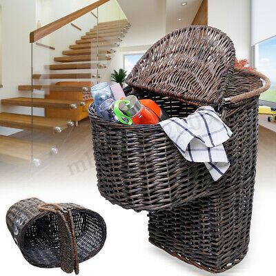 Wicker Handwoven Stair Step Storage Box Basket Container Carry With Handle Cover