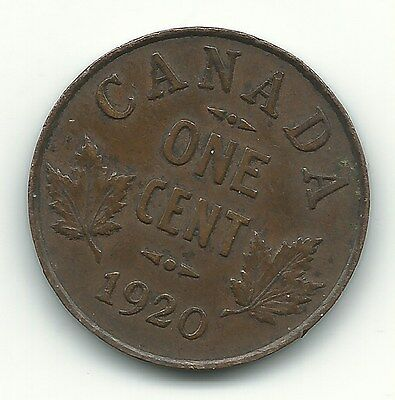 A Very Fine/Extra Fine Vf/Xf 1920 Canada-(Canadian) Small One Cent-Jan597