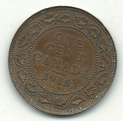 A Very Fine/Extra Fine Vf/Xf Condition 1915 Canada Large Cent Coin-Jan530