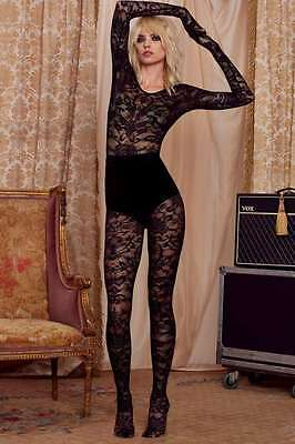 Love Courtney Nasty Gal Unitard Lace Bodystocking Catsuit Small Black 72070-30
