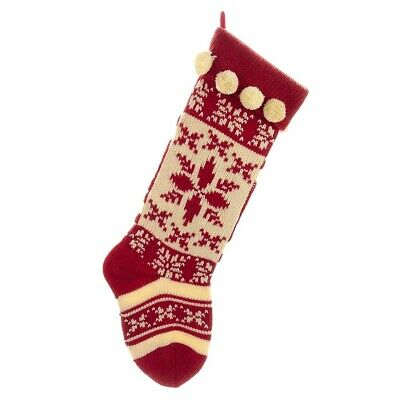 Red And White Knitted Christmas Stocking with Snowflake Design 17 Inch New