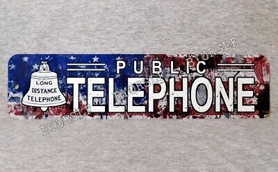 Metal Sign TELEPHONE public pay coin vintage phone booth prop American flag USA