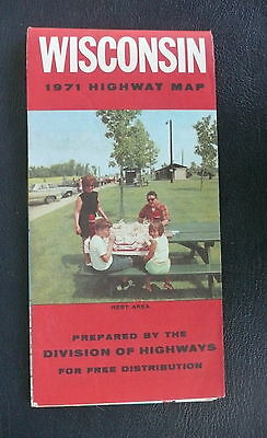 1971 Wisconsin official highway road  map