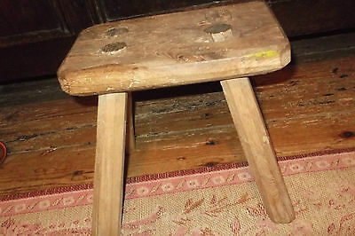 Antique French Elm & Oak Wooden Milking/Child's Stool Rustic Primitive Farmhouse