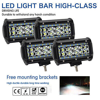 "4X 5"" 168W Cree LED Work Light Bar Flood Combo Fog Driving OffRoad Car Truck SUV"
