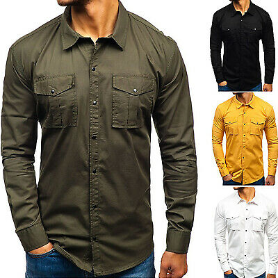 Mens Long Sleeve Pocket Shirt Slim Fit Formal Casual Work Shirts Autumn M-3XL
