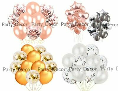 CONFETTI LATEX BALLOONS Rose Gold Helium Pearl Balloon Set 10 PCS Hen Party