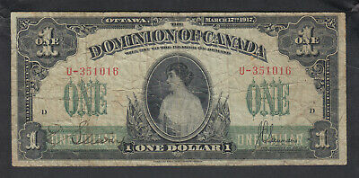 1917 Dominion Of Canada 1 Dollar Bank Note Saunders