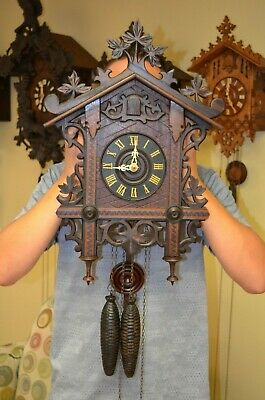 Antique German Black Forest Gk Train Style Cuckoo Clock