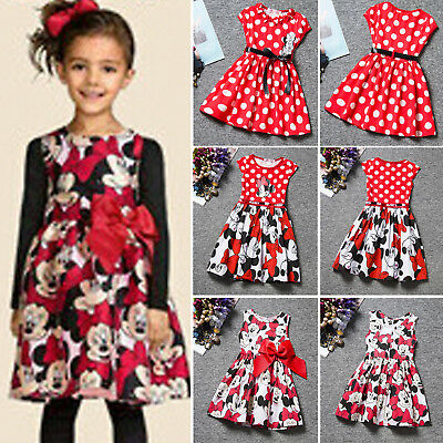 Summer Girls Kids Dresses Princess Baby Cartoon Mickey Minnie Party Casual Dress