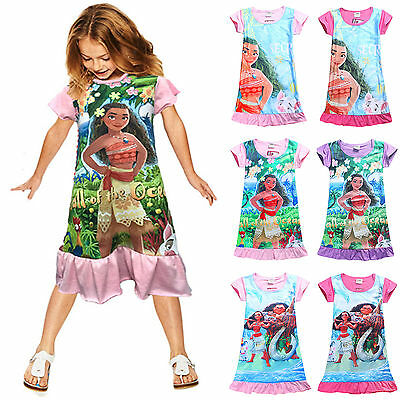 Girls Kid Princess Nightie Moana Night Dress Sleepwear Pyjamas Pjs Age 2-7 Years