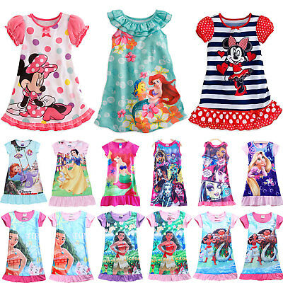 Girls Kids Princess Moana Elsa Sleepwear Pyjamas Nightie Pjs Night Dress  2-13Y