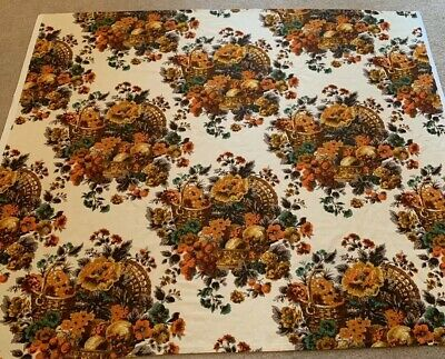 Vintage Cotton Print Orange Teal Green Cream FALL Floral Tablecloth GORGEOUS