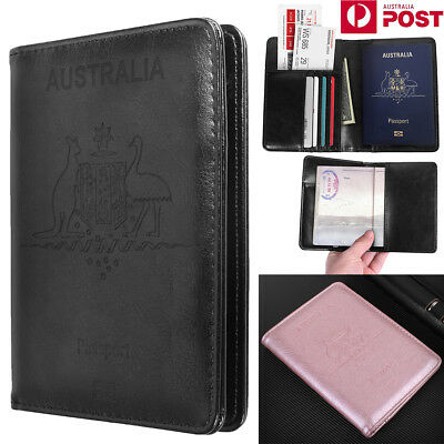 Premium Leather RFID Blocking Passport Travel Wallet Holder ID Cards Cover Case