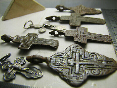 Mix ! 5 Late Medieval Orthodox Bronze + 2 Vintage Sterling Silver Crosses! #1297