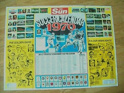 Large Soccer Sticker Calendar Poster 1970 Complete Old English First Division
