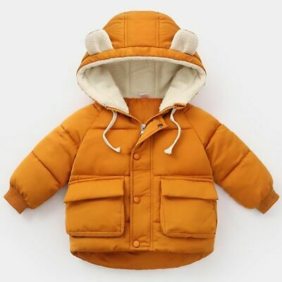 Children's Solid Colors Hooded Coat Cotton Clothes Unisex Winter Fashion Jackets