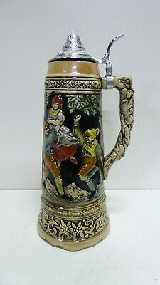 Vintage Pottery Ceramic Metal Lid Beer Stein Black Forest / German / Swiss Mug