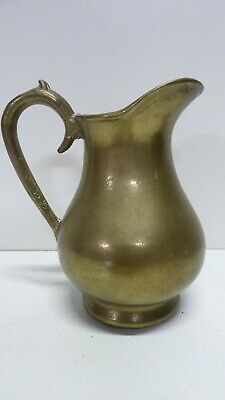 Old Antique Heavy Brass Jug - Thick Heavy Cast