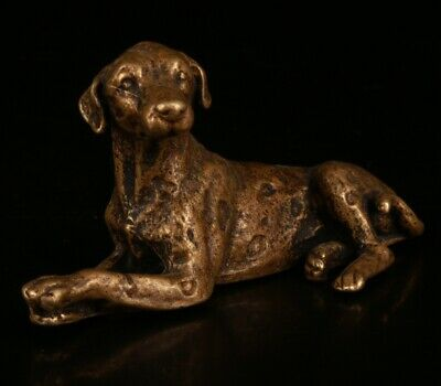 Chinese Old Bronze Hand-Cast Dog Statue Cute Gift Decoration
