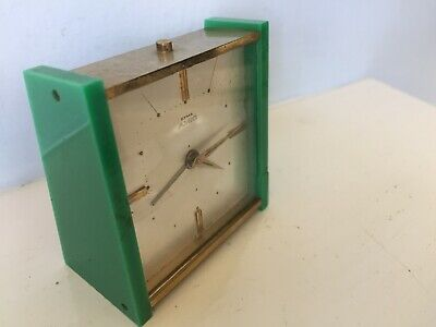 Rare Art Deco Swiss Made Fully working CYMA AMIC Travel Alarm Clock 11 Jewels