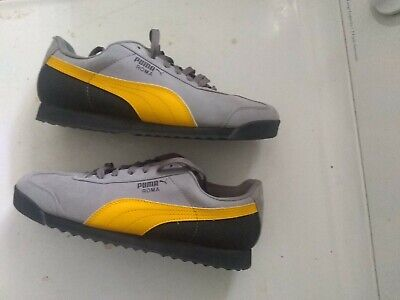 new concept fc635 5130f PUMA ROMA GRAY Suede yellow/black Classic Sneaker Shoes Worn Once Men's  Size 12