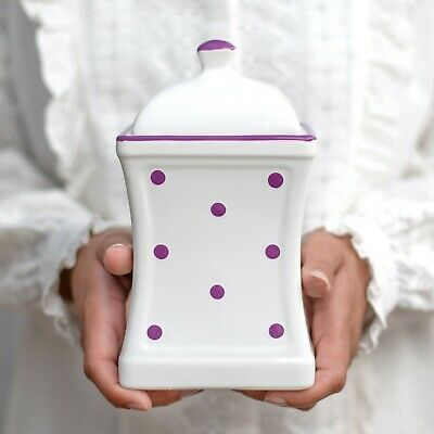 Handmade White and Purple Polka Dot Ceramic Large Kitchen Canister, Cookie Jar