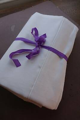 """Antique UNUSED quality white French linen metis sheet whipcord hem 92"""" x 120"""""""